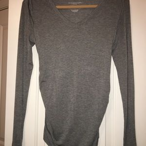 Tops - Grey, cotton, side rushing, maternity top